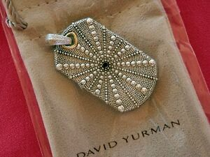David Yurman RARE Sterling Silver18K Blk Diamond Sea Urchin LGE Dog Tag Pendant