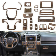 Full Set Wood Grain Upgrade Interior Trims For Ford F150 2015+ Super Duty 21pcs