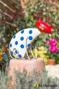 Garden Animal Sculpture Metal Ornament - Spotty Cat - Super Fast Delivery