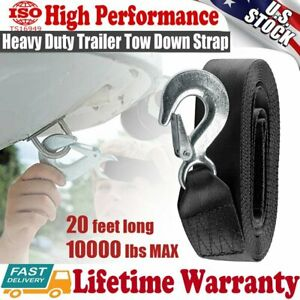 """10000LBS MAX DELUXE BOAT TRAILER REPLACEMENT WINCH STRAP 2""""x20' SNAP HOOK QUICK"""