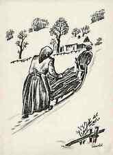 WINTER - HOLZSAMMELN mit SCHLITTEN - Max UNOLD München  Strichätzung 1929 HEYDER
