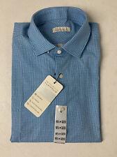 Perry Ellis Portfolio Travel Luxe Tech Dress Shirt Men's 16.5 32/33 BLUE CHECK
