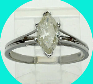 1CT! Diamond solitaire engagement ring 14K wht/gold marquise brilliant size 7.25