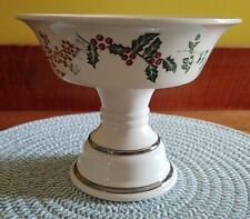 Bath and Body Works Holiday Christmas Pedestal Candle Holder Candy Dish Holly