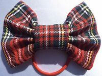 ROYAL STEWART RED TARTAN 4 INCH HAIR BOW ELASTIC BAND BOBBLE LADIES GIRLS NEW