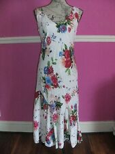PER UNA @ M & S cotton floaty white red pink blue floral party tea dress 10 r