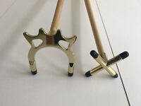 """2 x 57"""" 2 Piece Pool / Snooker Cues with BRASS CROSS & BRIDGE / SPIDER Rests"""