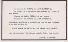 Faire-part décès colonel Pierre de FEYDEAU de SAINT-CHRISTOPHE (1888-1965).