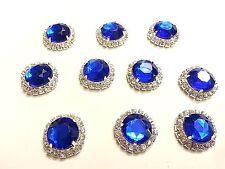 MT72RB- 10pc 22mm BLUE Crystal Diamante Rhinestone Wedding Topper Buckle Button