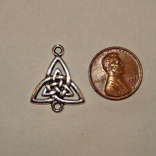 2 Silver Tone Celtic Knot Charm Connectors Trinity Triquetra Pendant 25x20mm #2B