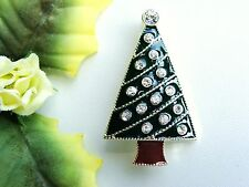 Sparkly! Vintage Green & Brown Enamel & Clear Rhinestone Christmas Tree Brooch!