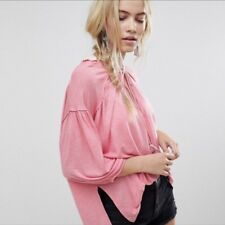 FREE PEOPLE Just a Henley Oversized Tunic Tee Top Pink Sz Large-L Retail $68 NWT