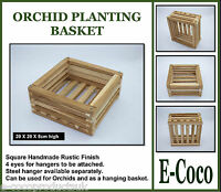 HANDMADE RUSTIC WOODEN HANGING BASKET, SQUARE DESIGN FOR ORCHIDS AND PLANTS