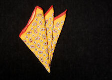 Mens DRAKE'S Pocket Square, White Red Modern Paisley on Sun Yellow Cotton ITALY