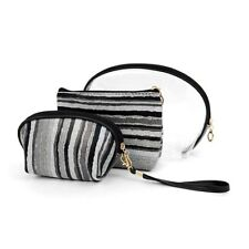 Gray and Black Striped Travel Make Up Pouch 3pc Cosmetic Bags Free Shipping