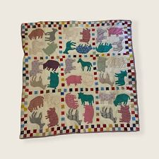 Vintage Handmade Patchwork Baby Quilt Wall Tapestry Farmhouse Animals