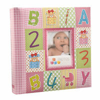 """Pink Baby Alphabet/Number Photo Album Holds 200 Photos 4'' x 6""""-Ideal Gift-CC200"""