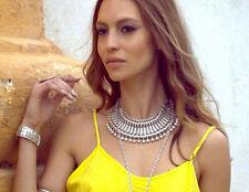 Summer Women Antiqued Fashion Silver Statement Chunky Choker Necklace Jewelry UK