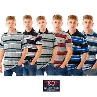 Mens Polo Shirts Striped Short Sleeve Collared Summer Holiday T Shirt Tops Tee