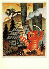 LARGE Russian card to fairy tale The Cat, the Cock and the Fox by Yu.Vasnetsov
