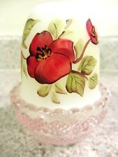Mosser Glass Rose Carnival /Opal Satin Handpainted Red Floral Fairy Lamp