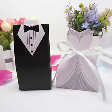 100×Wedding Favor Candy Box Bride+Groom Dress Tuxedo Party w/Ribbon Set For Gift