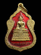 THAI AMULET BUDDHA LP WAT RAIKHING SEMAA RED ENAMEL PENDANT DECORATIVE NECKLACE