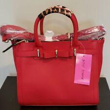 Betsey Johnson Red Double Zipper Satchel Handbag