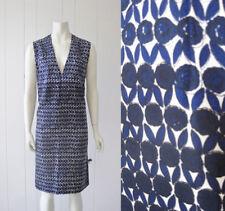 Silk Vtg 60s 1960 Shift Dress Floral Geometric Print Sleeveless Blue White S M