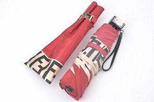 Authentic FENDI Zucca Folding Umbrella Red D0328