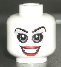 LEGO Super Heroes HARLEY QUINN Minifigure HEAD Dual Sided/White/Smile/Teeth/Lips
