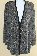 Piccadilly Fashions Black Textured Print Travel Knit Top Jacket Sz XL