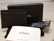 ab4da003b424 CHANEL POCKET CARD CASE HOLDER WALLET PURSE NEW CURRENT BOX BLACK CAVIAR  LEATHER