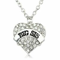 *UK Shop* BIG SIS CLEAR CRYSTAL ZIRCON HEART SILVER PENDANT NECKLACE SISTER STEP