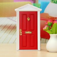 Red DIY Dollhouse Miniature Wood Fairy Door Toy With Key Metal Accessories 1:12