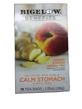 Bigelow 2 pk of 18 Calm Stomach Ginger & Peach Herbal Teabags - DAMAGED-Exp 3/21