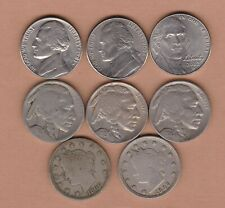More details for eight usa five cents coins 1890 to 2012d in good fine or better condition.