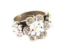 Victorian Vintage Look Brass Adjustable 3 White Flower & Crystal Ring