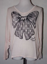 Disney Parks Minnie Mouse Womens Top Medium Bow Long Sleeve Embellished Sequins