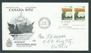 Canada # 594 // 598 - 5 private Rose Craft FDC wmk - Landscape Definitives 1972