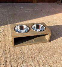 Wooden Dog Bowl Feeder Stand - 15cm - Weathered Grey