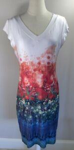 Moss & Spy - Red & Blue Floral Dress - Size 14 - Preowned VGC