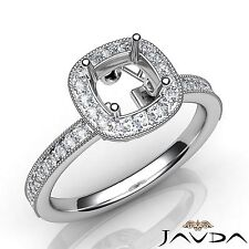Semi Mount Platinum 0.5Ct Round Cut Diamond Engagement Halo Pave Milgrain Ring