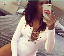 Sexy Women Front Plunge Metal Lace Up  Romper Bodysuit Leotard Jumpsuit 100b