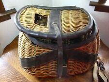 Antique Willow Woven Fishing Creel Basket w Handcrafted Harness Japan as is