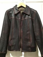Nudie Jeans FOLKE Leather Jacket - Distressed Brown Bomber - Size Medium (M)