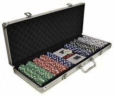 New 500 Vegas Sets Poker Chips Card Casino Games Carry Case