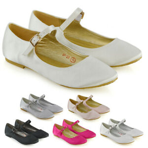 Womens Bridal Shoes Flats Slip On Ladies Mary Jane Bridesmaid Satin Pumps Size