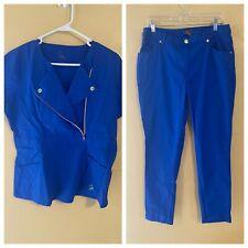 New listing Jaanuu Scrub Set M Medium Blue Pants Top Silver Zipper Snaps Rivets Like Jeans