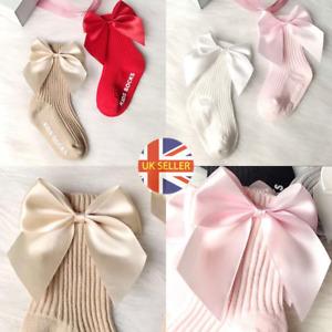 Baby Girl Toddler Spanish High Ankle Socks Plush Satin Ribbon Bow 100% Cotton